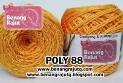 benang rajut POLY 88 - MEDIUM ORANGE - WITH RED COM (NEW!!!)
