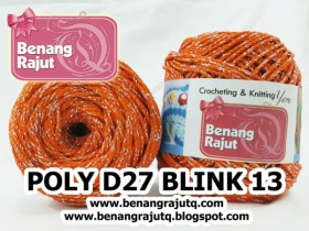benang rajut medium POLY D27 BLINK - 13 (ORANGE + SILVER)