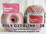 benang rajut medium POLY D27 BLINK - 24 (SOFT PINK + PUTIH + SILVER)