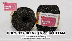 benang rajut medium POLY D27 BLINK (G) - 34 HITAM