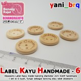 LABEL KAYU HAND MADE 6 (isi 6 BUAH) MODEL KANCING BULAT